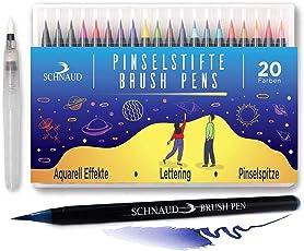 Brush Pen Set - 20+1 Watercolor Set Pinselstifte, Wasserfarben-Stifte + Aquarell, Hand-Lettering E-Book (Deutsch) - Bullet Journal und Kalligraphie Zeichnungen - Hochwertig mit echter Pinselspitze