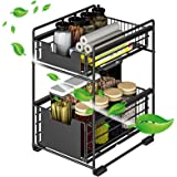 TOPLDSM Panier de Rangement Coulissant à 2 Niveaux, tiroir Organisateur, Porte-épices, Panier Coulissant sous évier, étagère