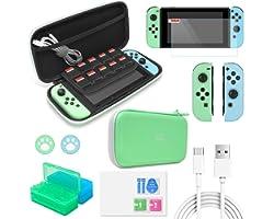 FYOUNG Étui de Transport Accessories Kits Compatible avec Switch Animal Crossing, 12 en 1 Portable Pochette + Protecteur d'éc