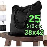 25 Stück Baumwolltasche 38 x 42 cm SCHWARZ unbedruckt lange Henkel Stofftasche Tragetasche Umhängebeutel Baumwollbeutel Juteb