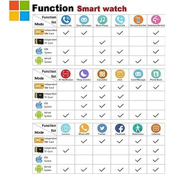 Smart Watch Bluetooth, Smartwatch Phone con Camera Touchscreen Impermeabile Smart Orologio Intelligente Pedometro Bracciale Supporta Sim Tf Card per Android Apple Iphone 6 7 Plus ios Samsung Donne Uomo (Bianco)