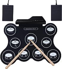 Tamburo elettronico ROLL-UP, YOSASO Batteria portatile elettrica per allenamento con 9 pastiglie, batteria portatile pieghevole con 2 pedali e 2 bacchette per bambini e principianti
