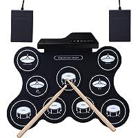 ROLL-UP Tambour Electronique, YOSASO Pad de Batterie d'Entraînement Portable Electrique avec 9 Pads, Tambour Pliante Portative avec 2 Pédales et 2 Baguettes pour Enfants et Débutants