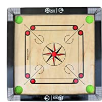 Auxis Sports Carrom Board, Fully Glossy Finish with Round Pocket 1.5inch Border with Coins, Striker and Carrom Powder…