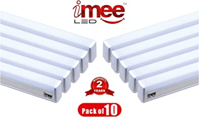 iMee 18 Watts Extra Bright 1800 Lumens Strong Aluminium Body T5 LED Tube Light 6500K (Cool Day Light), Batten Length 4 Feets, with Fitting Clamps & Screws (Pack of 10)
