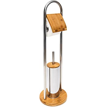 relaxdays 10019178 wc garnitur bambus und toilettenpapierhalter b rstenhalter inklusive. Black Bedroom Furniture Sets. Home Design Ideas