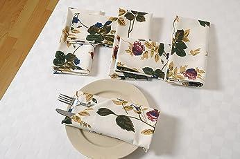 Swayam Libra Printed 6 Piece Cotton Dinner Napkins - Beige