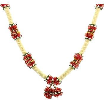 Decoration Craft Fabric & Plastic Beads Garland (48 Cm+Ribbon, White)