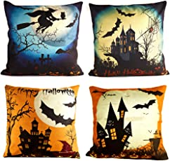 Kuuqa 4 Stücke Happy Halloween Leinen Kissenbezug mit Spinne / Mond / Bat / Kürbis / Skeleton Schädel für Halloween Party Favors Liefert