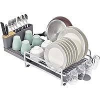 Kingrack WKUK810266-1 Égouttoir à vaisselle extensible avec support à couverts et porte-gobelets amovible en aluminium…