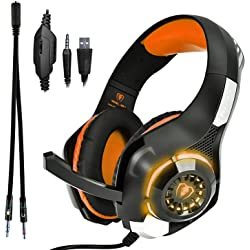 Beexcellent GM-1, Cuffie cablata da gioco over-ear con illuminazione a LED, Arancione