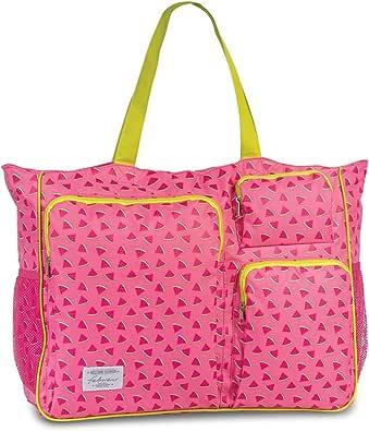 Fabrizio Strandtasche groß XXL viele Taschen Urlaubstasche Freizeittasche Sommer mit Reißverschluss
