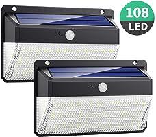 Luce Solare LED Esterno, Kilponen 108 LED Super Luminosa Lampada Solare con Sensore di Movimento [270º Illuminazione 2...