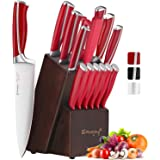 Emo joy Ensemble de Couteaux, Bloc Couteau de Cuisines, 15 pièces Set Couteaux Professionnels, Couteaux Acier Inoxydable Alle