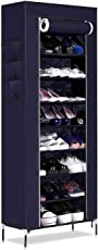 Styleys Alloy and Plastic 9 Layer Portable Shoe Rack Organizer with Dustproof Cover Closet (Large, Blue) - Pack of 60