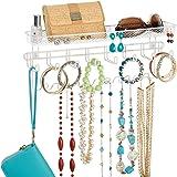 mDesign Portagioie pensile – Perfetto organizer portagioie per alloggiare collane, orecchini, sciarpe e altri accessori – Por