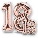 """FUNXGO® Folienballon Zahl in Rose Gold 2 Stück -40""""/100cm+16""""/40cm- Folienballons für Helium und Luft als Geburtstag…"""