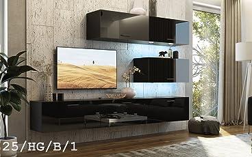 Perfekt HomeDirectLTD FUTURE 25 Wohnwand Anbauwand TV Schrank Möbel Wohnzimmer  Wohnzimmerschrank Hochglanz Weiß Schwarz LED RGB