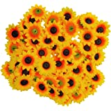 Roseikon Rids Artificial 10cm 50Pis Big Sunflower Flower Head Home DIY Party Decoration Hair Clip Craft (Yellow 10cm X 10cm)