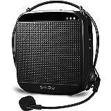 Amplificador de voz portátil de 15W, SHIDU amplificador de voz con auriculares con micrófono con cable Micrófono recargable y