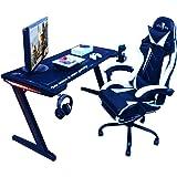Mesa Gaming, 140cm x 60cm, Gaming Desk, Mesa para Ordenador Consola PS5, Xbox Series, Patas de Acero, RGB LED, Base de Alfomb