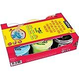 Pebeo 634110 Textilfingermalfarbe Tactilcolor 6-er Set 100 ml, gelb/rot/blau/hellgrün/schwarz/weiß