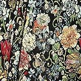 Gobelin Möbelstoff Dekostoff Blumenpracht Meterware Schwarz