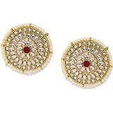 Zaveri Pearls Gold Tone Kundan & Pearls Circular Stud Earring For Women-ZPFK9082