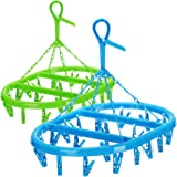 COM-FOUR® 2x hangende droger met elk 20 clips - mini droogmolen om op te hangen - wasdroger voor sokken [keuze varieert] (gro