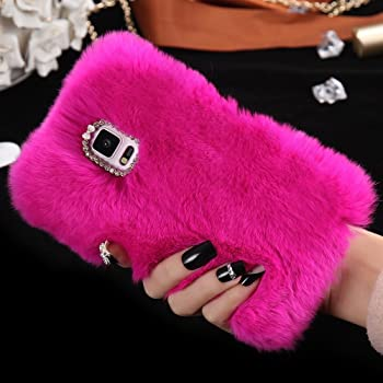For Samsung Galaxy S8 PLUS Case, FLOVEME [Slim Fit] [Bling Diamond] Luxury Winter Soft Warm Faux Rabbit Fur Fuzzy Plush with Crystal Cute Bowknot Protective Back Cover for Girls Xmas Gift, Hot Pink