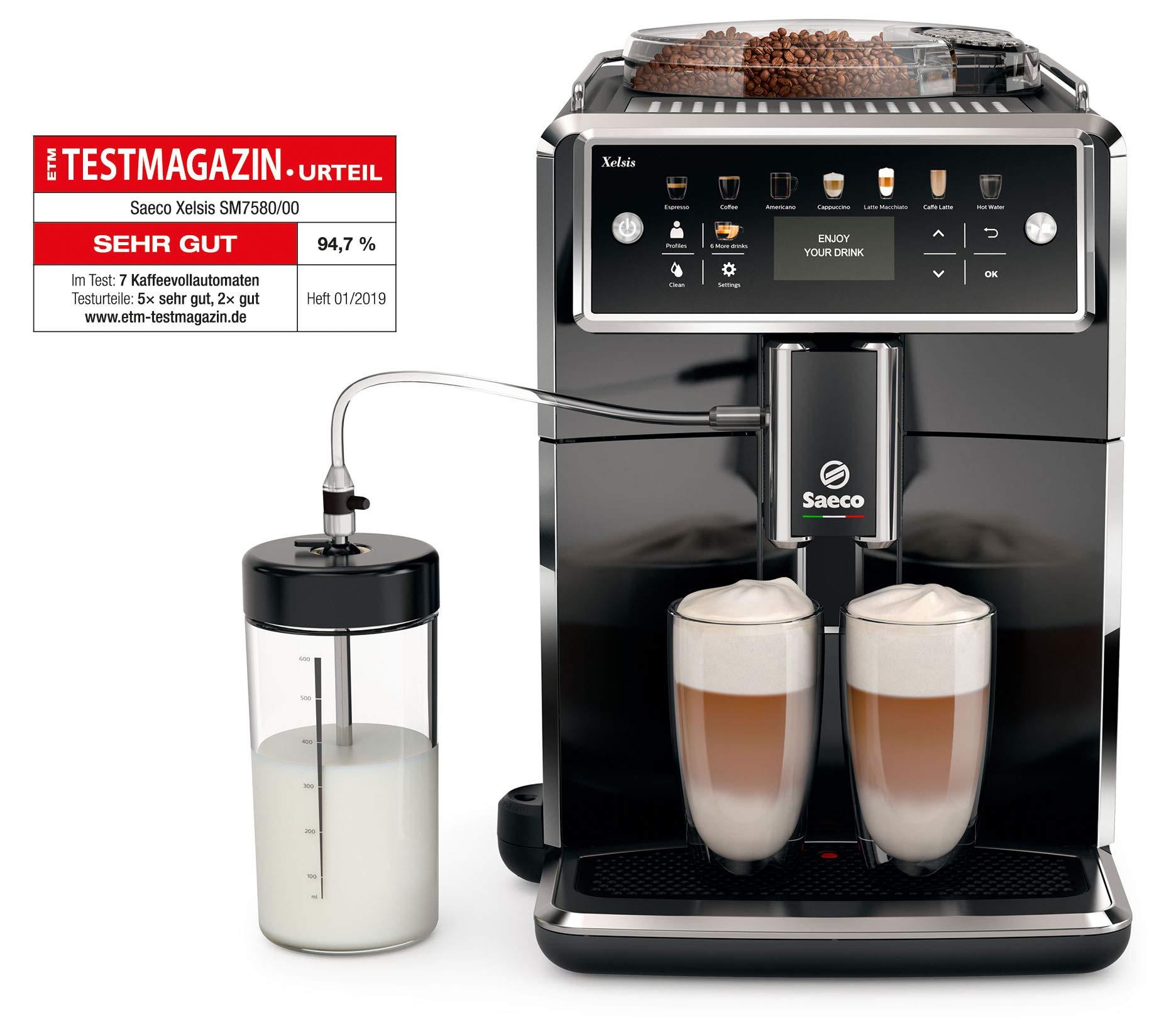 Saeco SM7580/00 Xelsis Kaffeevollautomat (LED Display, Milchbehälter) pianoschwarz