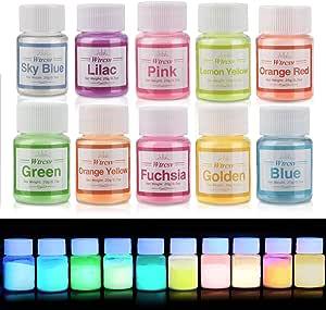 Wtrcsv Epoxy Resin Luminous Powder Mica Powder Colour Pigment Pigments For Uv Resin Epoxy Resin Casting Resin Glow In The Dark Night Light Neon Colour Powder Glow Powder Küche Haushalt