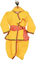 Ahhaaaa Yellow Krishna Dress Dhoti Kurta For Baby Boys (Pack of 4- Basuri,Mor Pankh Mukut,Bandhni Patka & Dhoti Kurta