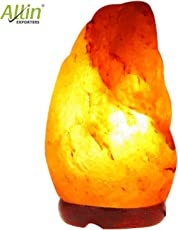 Allin Exporters Natural Himalayan Rock Salt Lamp with Wood Base for Lighting, Decoration and Air Purifying with Indenscent Bulb(Redish Brown)