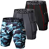 ZENGVEE Men's 3 Pack Compression Shorts Cool Dry Running Base Layer Shorts with Phone Pockets for Running,Training, Workout,