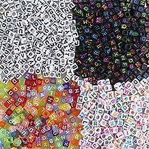 FOGAWA 800 Piezas Perlas Letras Cuentas de Letras Colorido Letras de Plastico Mezclados Abalorios Letras Perlas