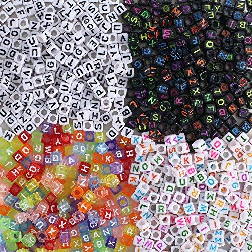 13c8204e036a FOGAWA 800 Piezas Perlas Letras Cuentas de Letras Colorido Letras de  Plastico.