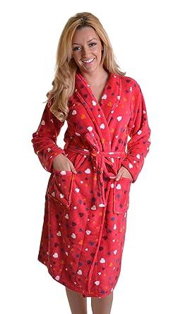Medium Length Wrapover Love Heart Dressing Gown Bath Robe with ...