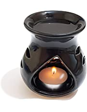 Pure Source India Regular Ceramic Aroma Burner Good Quality Coming With 1 Pcs Free Candles . (Clay Lamp Black)