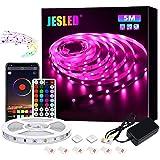 JESLED Tiras LED 5M, Sincronización de música Bluetooth, control de aplicaciones, Remoto de 44 Botones, 5050 RGB LED Strip, p