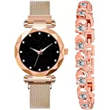 Analogue 4 Point Diamond Studded Black Dial Chain Magnet Watch & Cosmic Bracelet Combo for Girl's & Women's Watch (Set of 2)