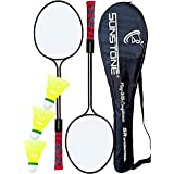 SUNSTONE Badminton Racquet Steel Body Two Piece Set Three Shuttle with Full Cover F400 Dubble Shaft
