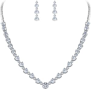 EVER FAITH Collana Fede Nozze Elegante d'Argento-Fondo Zircon del Cerchio del Fiore Set