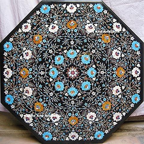 91,4x 91,4cm tavolo in marmo nero, pietre semi preziose Inlay Da Pranzo Tavolino Divano Tavolo Home Decor