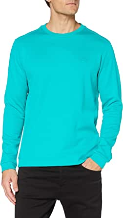 BOSS Mens Salbo Hybrid cotton-blend sweatshirt with curved layered logo