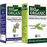 INDUS VALLEY Bio Organic Natural Indigo Powder and Henna Powder Combo for Black Hair Colour (100 + 100gm)