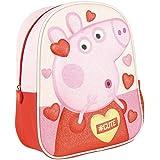 Peppa-Pig Kleiner Rucksack 3D Pailletten Kinder Mädchen Rosa Rot 31 x 26 x 10 cm