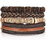DALARAN Leather Bracelet for Men Wrist Band Brown Rope Bracelet Bangle