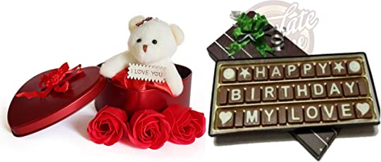 Birthday Chocolate Gift for Girlfriend/Boyfriend/Husband/Wife - A Happy Birthday My Love Chocolate Message with Premium Tin Box Containing Flowers and Teddy