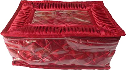 Glitter Collection Women's Satin Vanity Box for Keeping Jewellery with 11 Zippered Pouches (Red, JWLMLT)